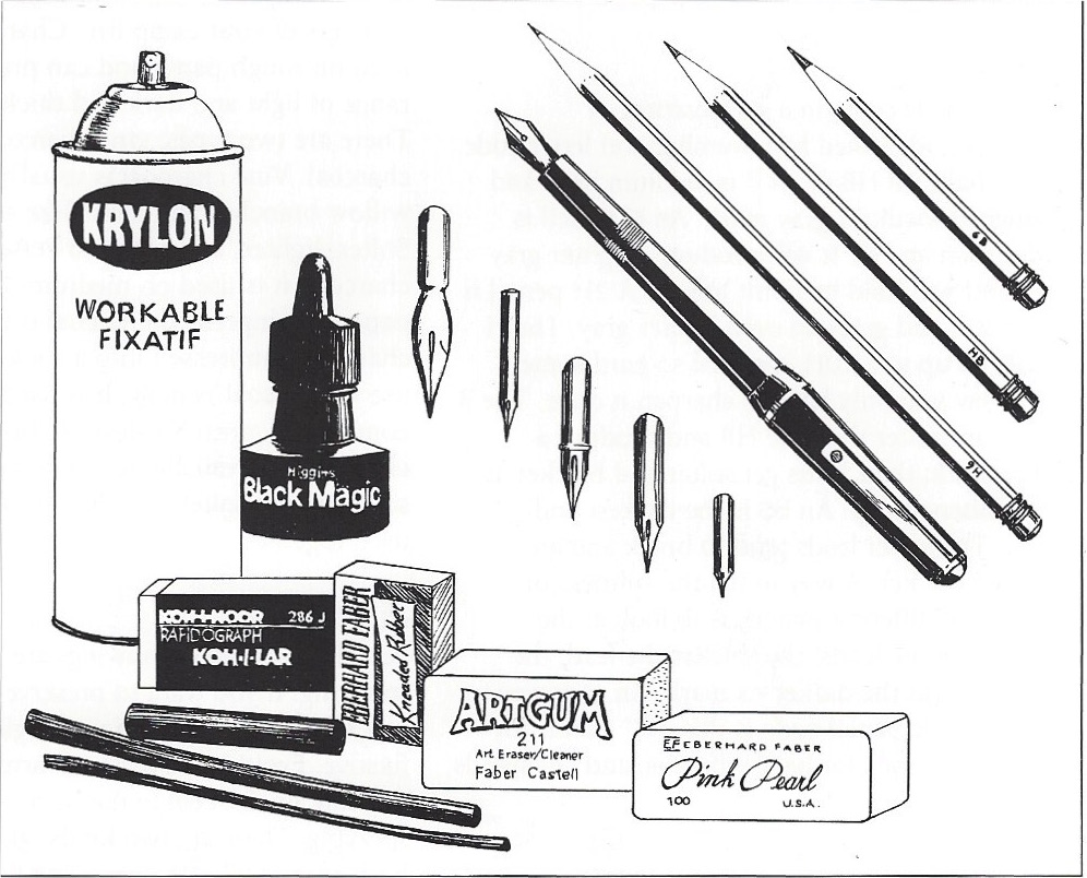 Virtually anything can be used to make a drawing pictured here are various pen nibs drawing pencils a fountain pen white plastic eraser gray kneaded